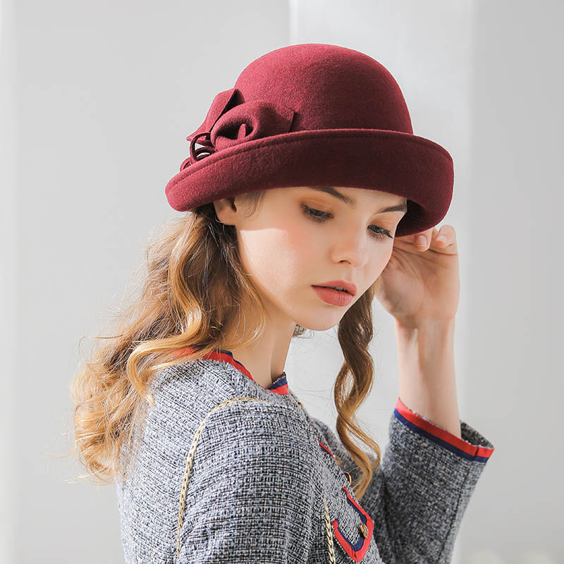 Image 5 - Fibonacci 2018 New Brand Quality Flanging Floral Wool Felt Fedoras Women's Autumn Winter Hats Dome Elegant Banquet Fedora Hat-in Women's Fedoras from Apparel Accessories
