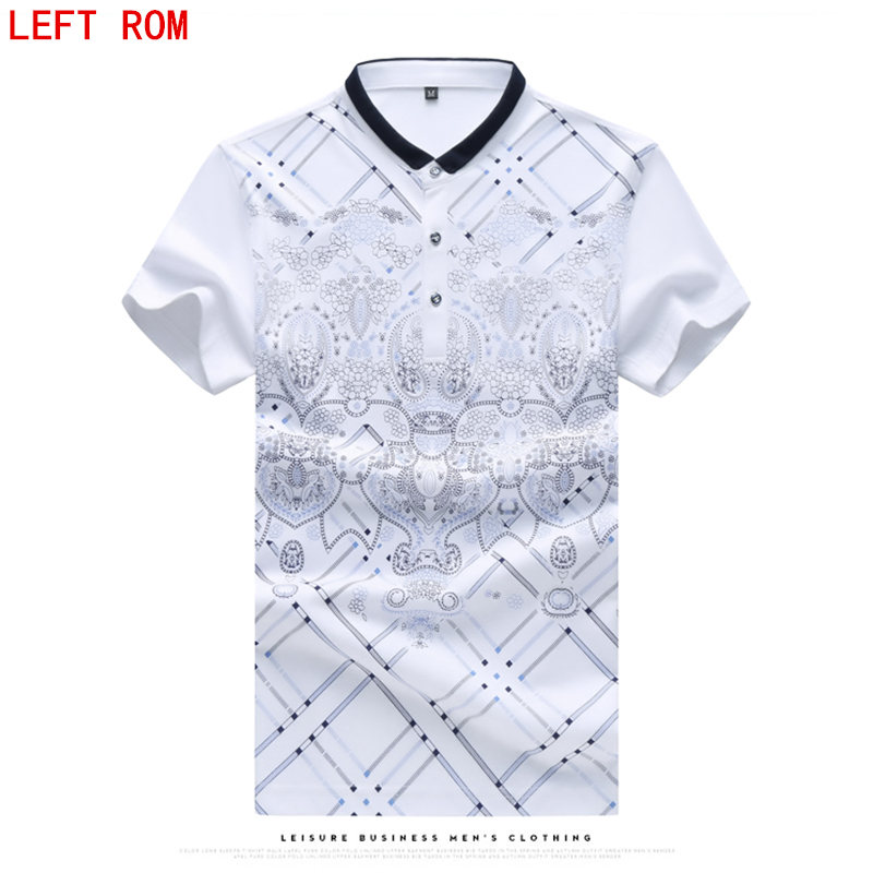 New 2017 Brand   POLO   Shirt Men Cotton Fashion Skull Dots Print Camisa   Polo   Summer Short-sleeve Casual Shirts Large size M -7XL