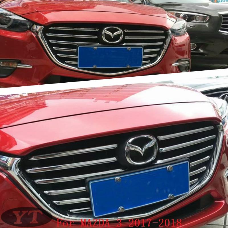 Front grille trims for Mazda 3 2017,ABS chrome,12pcs/set ,auto accessories