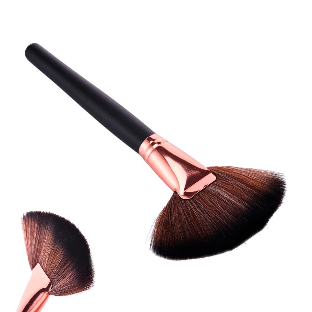 pro makeup tool large fan brush synthetic hair blush face powder
