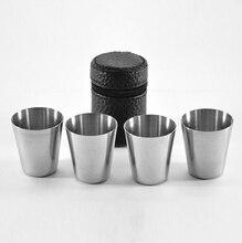 4pcs/set mini 30ml Portable Stainless Steel Wine Cups Drinking Liquor Alcohol Whisky Vodka Bottle Mug Travel Barware Accessories