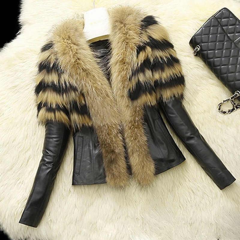 Winter Womens Faux Mink Fur PU Leather Slim Fit Short Coat Military Thicken Parka Overcoat Jackets Outwear Faux Raccoon Fur