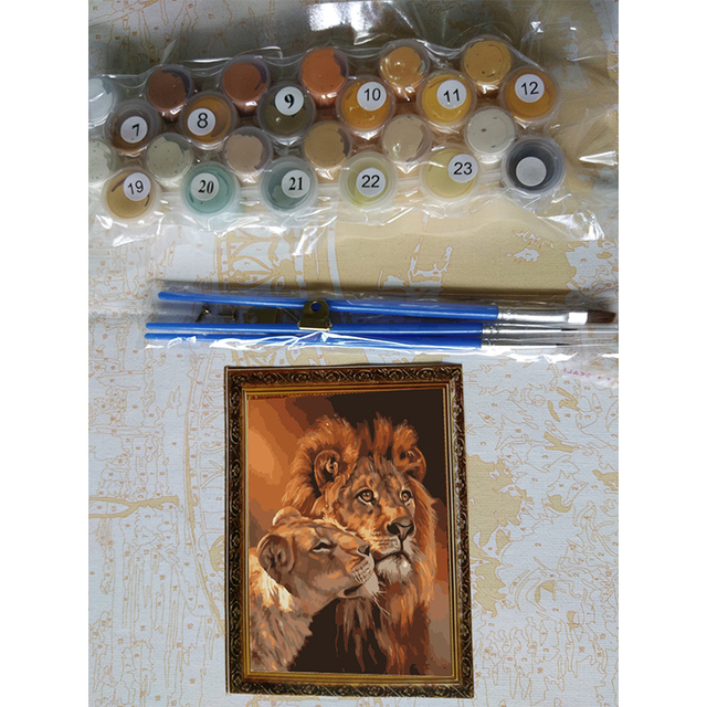 Lion and Lioness DIY Painting by Numbers Kit