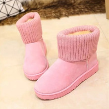 Hot Sale Women Boots Solid Soft Cute Women Snow Boots Round Toe Flat Black Pink Winter Shoes Knitting Boot 2016 New Arrival