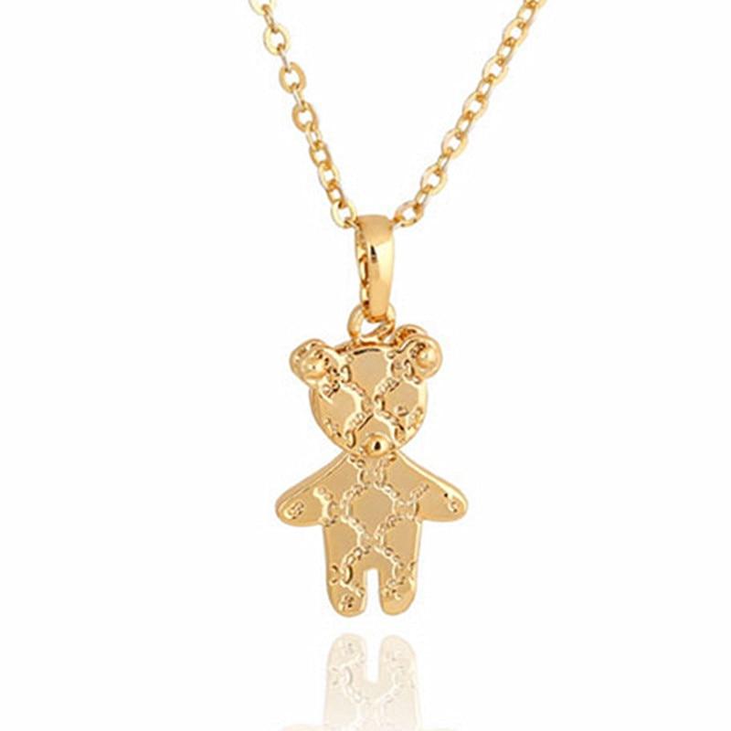 Fashion Cute Gold Mini Teddy Bear Pendant Necklace Women Mens