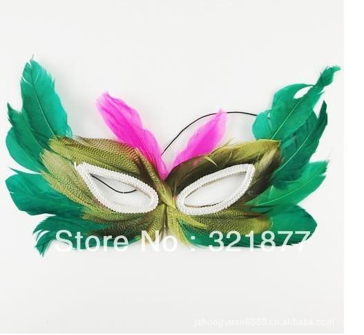 free shipping Prom Dress masquerade mask powder feather mask