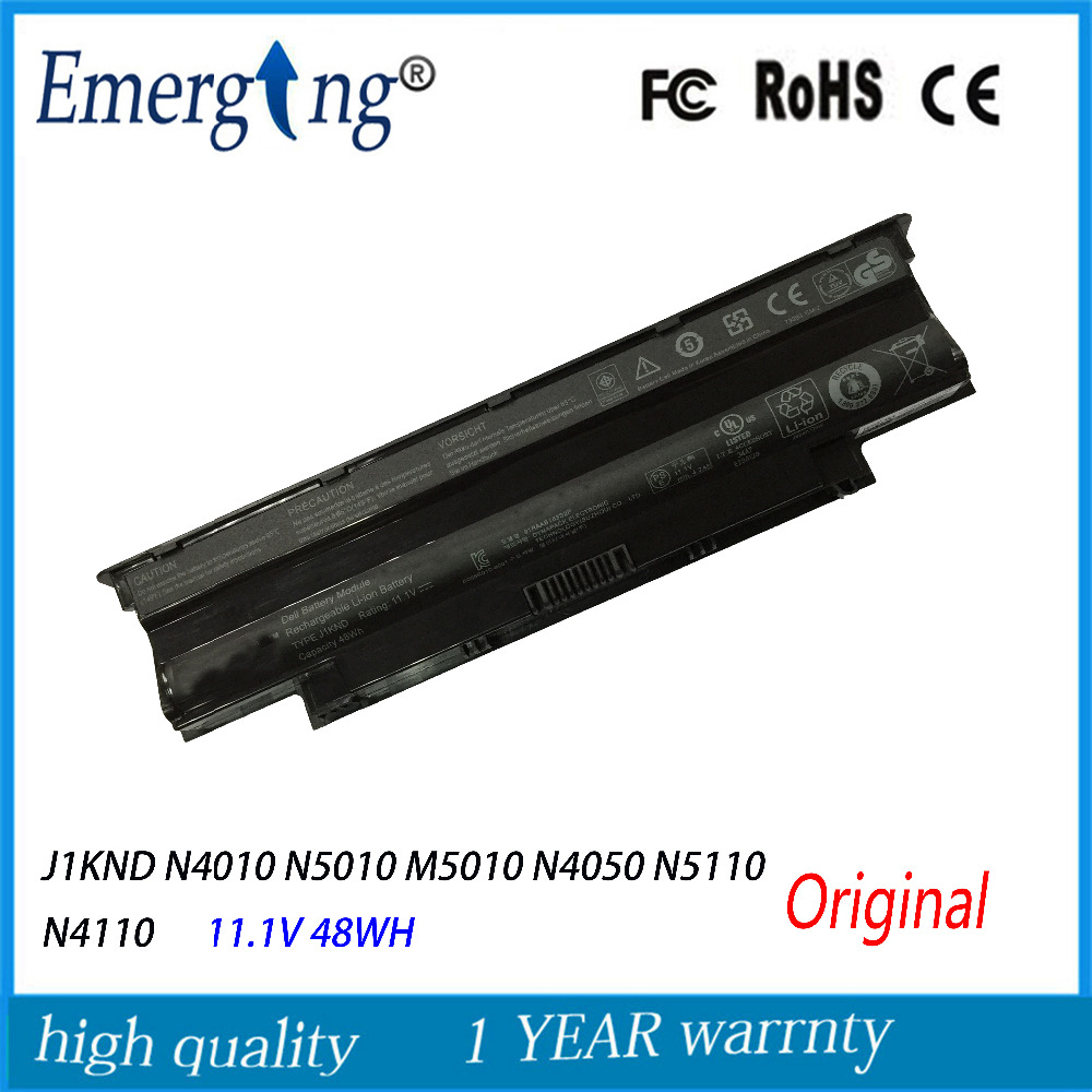 6cells 11.1V 48wh New Original Laptop Battery for Dell Inspiron 13R N3010 14R J1KND N4010 N5010 M5010 N4050 N5110 N4110 new genuine 14 4v 5200mah 74wh 8 cells a42 g55 notebook li ion battery pack for asus g55 g55v g55vm g55vw laptop