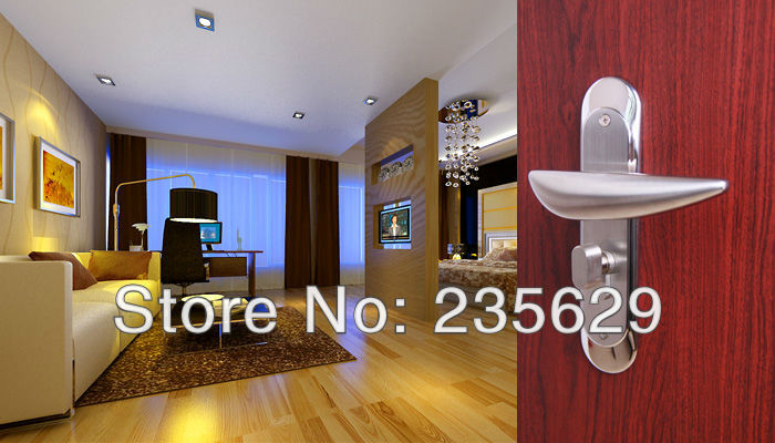 Free Shipping, Bedroom / Entrance Door Lock, brushed stainless steel, Stainless Steel Handle, Brass cylinder european fashion ivory white bedroom bookroom door lock amber white indoor lock mechanical handle lock bearing lock body crystal