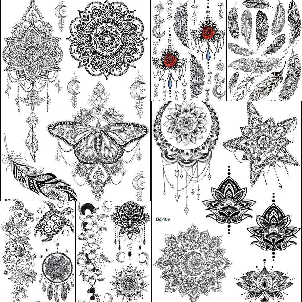 Bohemia Henna Mandala Flower Temporary Tattoos Sticker Moon Feather Women Girls Tatoos Black Stars Waterproof Tattoo Fake Jewels