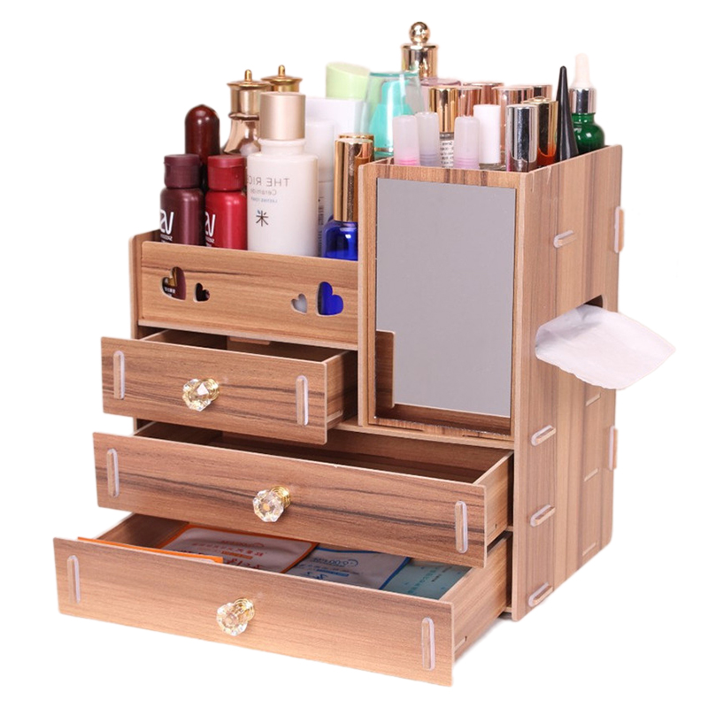 Urijk Wooden Storage Box Makeup Organizer Jewelry Box ...