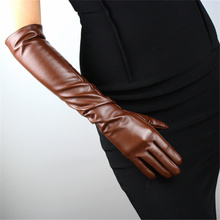 Gloves Women Simulation Leather PU Long 50cm Over Elbow Brown Black Wine Red With Drak Retro Elegant Silky lining TB13