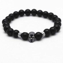 Black Bead Bracelet With Stone Skull