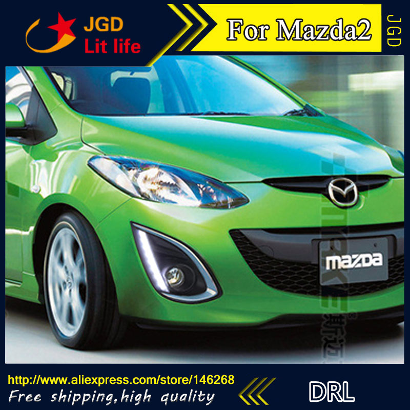 Free shipping ! 12V 6000k LED DRL Daytime running light for <font><b>Mazda</b></font> <font><b>2</b></font> Mazda2 2012-2015 <font><b>fog</b></font> <font><b>lamp</b></font> frame <font><b>Fog</b></font> light image