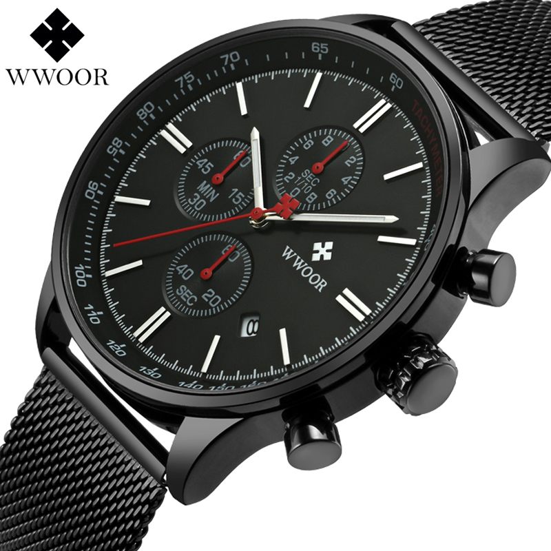 WWOOR Men Watch Analog Sports Wristwatch Display Date Men's Quartz Watch Business Full Steel Watch Men Watch Relogio Masculino цена и фото