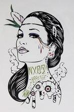 Smoke Gangster Women With Sexy Lips 21 X 15 CM Sized Sexy Cool Beauty Tattoo Waterproof Hot Temporary Tattoo Stickers