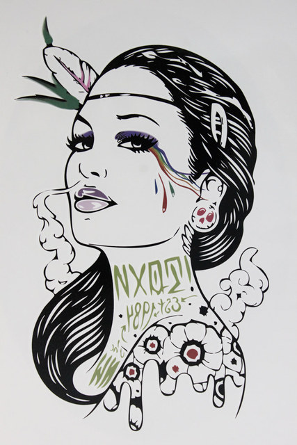 Smoke Gangster Women With Sexy Lips 21 X 15 CM Sized Sexy Cool Beauty Tattoo Waterproof Hot Temporary Tattoo Stickers