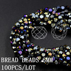 Crystal Bread Beads Black AB Color 6MM 100Pcs/Lot Rondelle Glass Faceted Loose Beads for DIY Jewelry Making Joyasy Accesorios