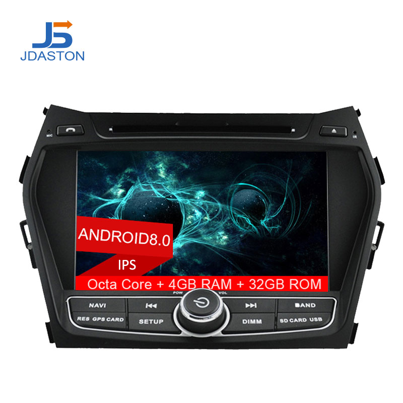 JDASTON 2 DIN Octa Cores 4G+32G Android 8.0 Car DVD Player For Hyundai IX45 SANTA FE 2013 Multimedia GPS Navigation Radio Audio автомобильный dvd плеер 1 dvd hyundai ix45 dvd gps 3g wifi bluetooth