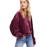Purple Long Sleeve O Neck Drop Shoulder Stain Tops For Women Ladies Casual Sporty Basic Oversize