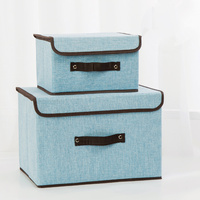 2 pcs/set Sorting Box Cotton And Linen Clothes Finishing Boxes Covered With Foldable Underwear Tights Storage Boxes Sundry Boxes