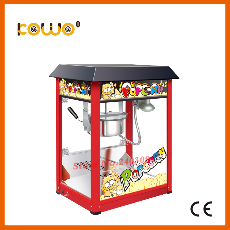 KW-BG817 commercial professional automatic 8Oz electric popcorn machine with black cover commercial automatic caramel making popcorn machine price with wheels