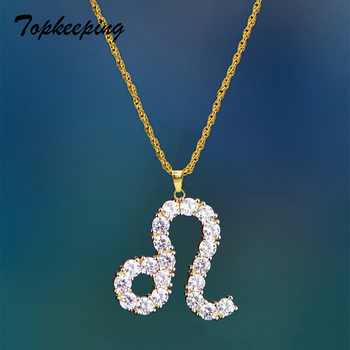 Zodiac Sign Shining Crystals Pendant Necklaces Iced Out Rhinestone 12 Constellations Charm Necklace for Women Jewelry Gifts Sale