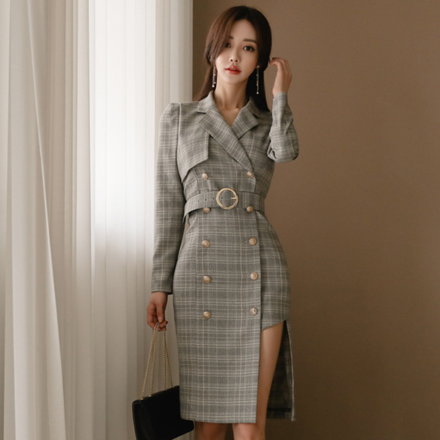 e61511e5d5ba Autumn Notched Neck Irregular Plaid Women Dress Vintage Double Breasted  Sashes Mid-length Dress OL Style Female Vestidos 2018
