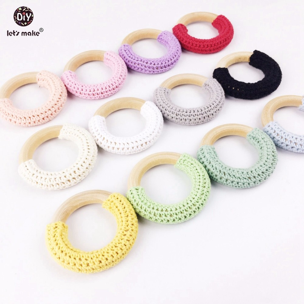 Let s Make 100pc Crochet Ring Wood Teether Baby Gifts Chew Toys DIY Jewelry Natural Maple