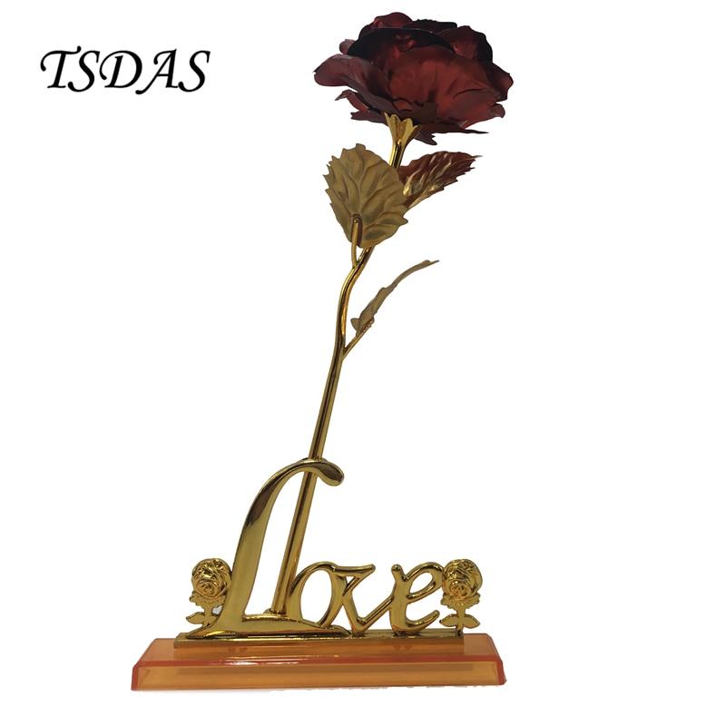 25CM rdeča barva 24k zlata folija vrtnica cvet namočena dolge - Prazniki in zabave - Fotografija 1
