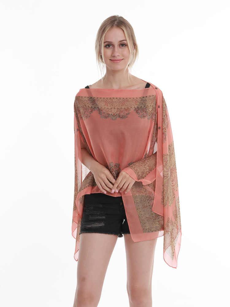 Женское дорожное пончо, шелковое полотенце для защиты от солнца, Пляжная шаль, большие размеры, модные накидки из шифона