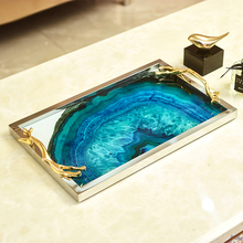 European blue agate stone pattern rectangular tray decoration home living room coffee table storage bed decorations цена и фото