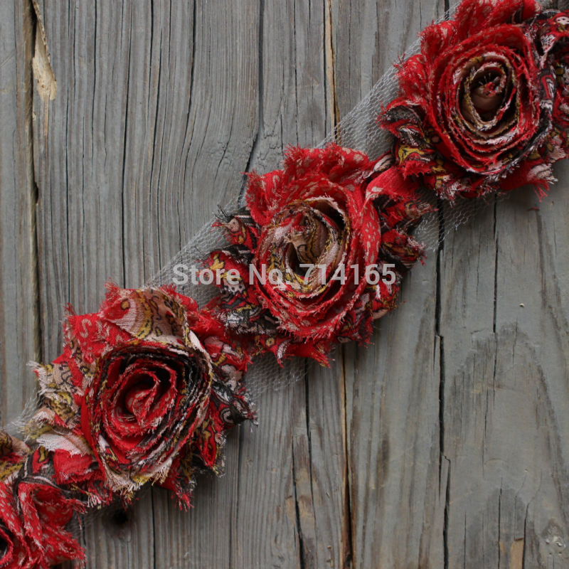 DIY Red Peacock shabby flower Chiffon Flower Shabby Rose Trim for hair accessories/garment/shoes/headband(016) metting joura vintage bohemian green mixed color flower satin cross ethnic fabric elastic turban headband hair accessories