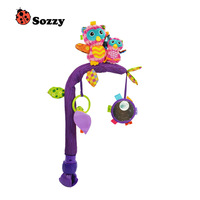 Sozzy Flexible Stent Baby Crib Bed Clip Rattle Unilateral Lathe Hanging Bell Monkey Owl Frog Infant Plush Mobile Toys