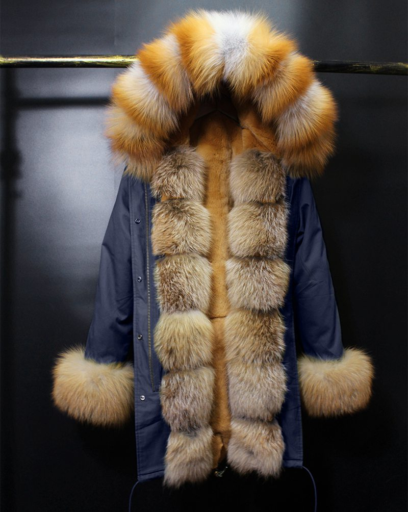 brand 2017 parkas long fur coat winter jacket women parka real natural large fox Fur Collar hooded Warm rex rabbit Fur liner 2017 winter new clothes to overcome the coat of women in the long reed rabbit hair fur fur coat fox raccoon fur collar