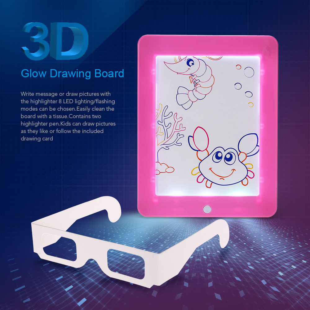 3D Drawing Board Light Show Effect + 3D Glasses + Color Pen Childrens Drawing Toys Childrens Gifts Cultivating Interest