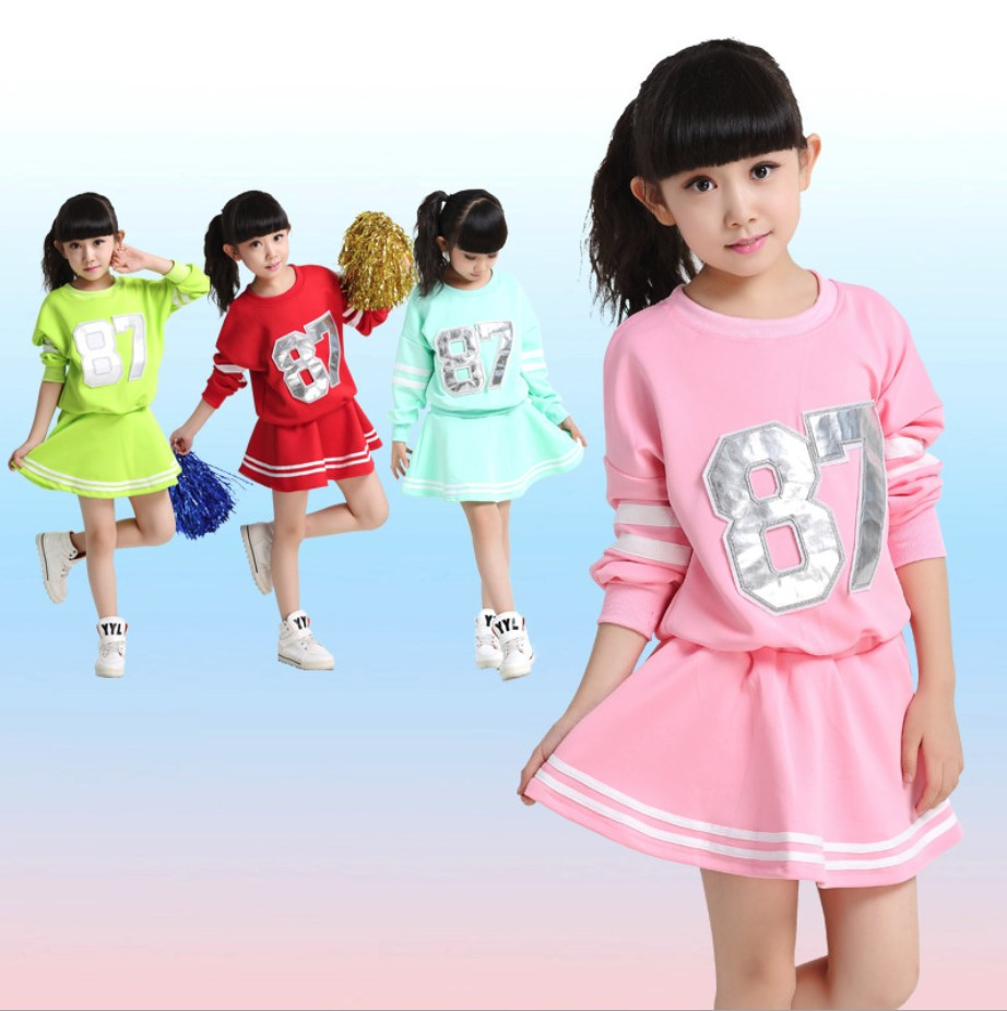 Kid Children  Primary School Cheerleader cheerleading costume Uniforms Set Kid Student Costumes Girl Graduation  Suits For Girl