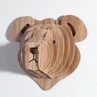 Wood Sculpture Wood Bear Head Design 5MM MDF Animal Head Wall Hanging Carving for Children/Kids Room WDM006M