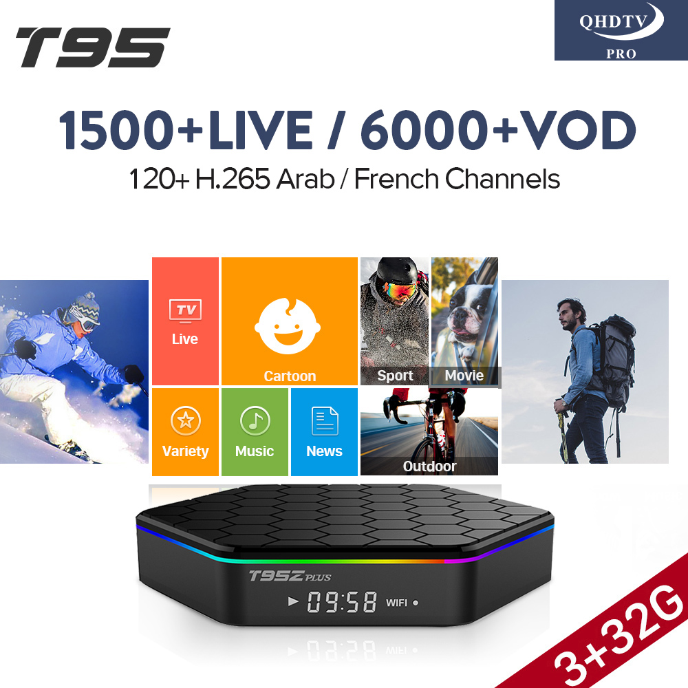 T95Z PLUS 3GB 32GB TV Box Amlogic S912 Octa Core Smart 4K Media Player H.265 1 Year QHDTV PRO Code Europe Arabic French IPTV Box 10pcs vontar x92 3gb 32gb android 7 1 smart tv box amlogic s912 octa core cpu 2 4g 5g 4k h 265 set top box smart tv box