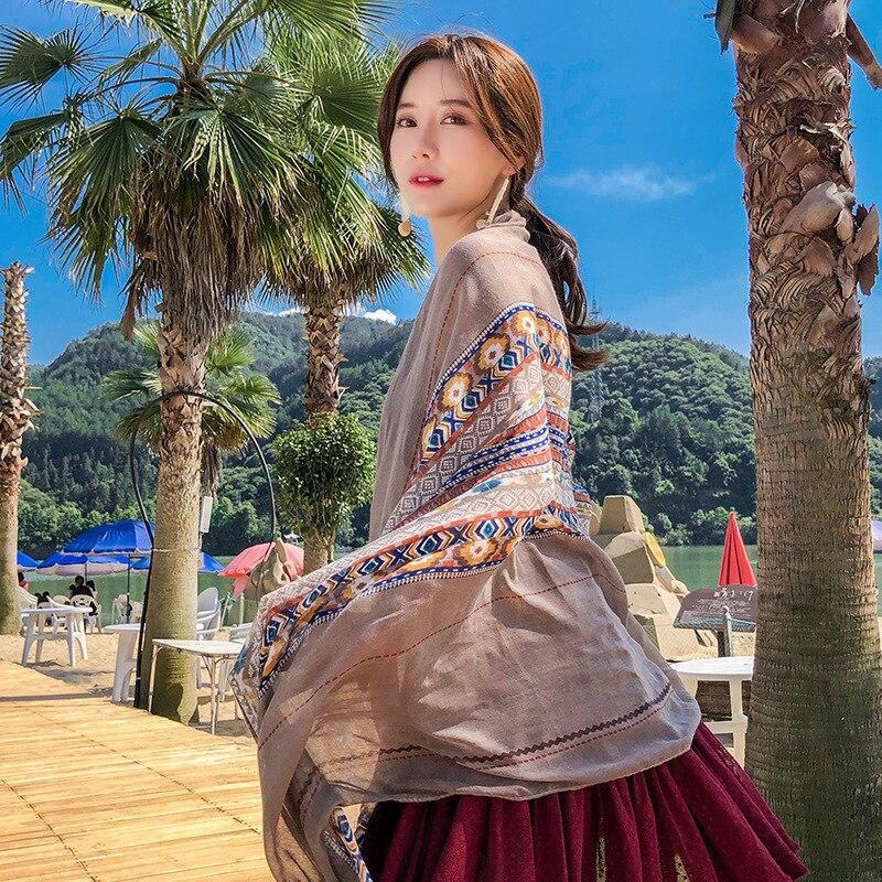 Spring Summer Cotton Geometric Shawl Women Printed Long   Scarf     Wrap   Boho Large Bufanda Mujer Fashion Female Linen Hijab   Scarves