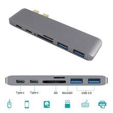 Dual Type C HUB USB Adapter 6 in 1 Charger Card Reader Hub 3.0 Type-C Charging hub Converter For Macbook Pro Mac PC Laptop