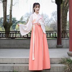Vestido chino bordado con falda hasta la cintura para mujer
