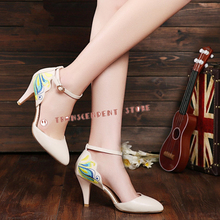 Buckle Strap Elegant Dress PU Women Pumps Fashion Pointed Toe High Heel Beautiful Butterfly Embroider Handmade Women Shoes
