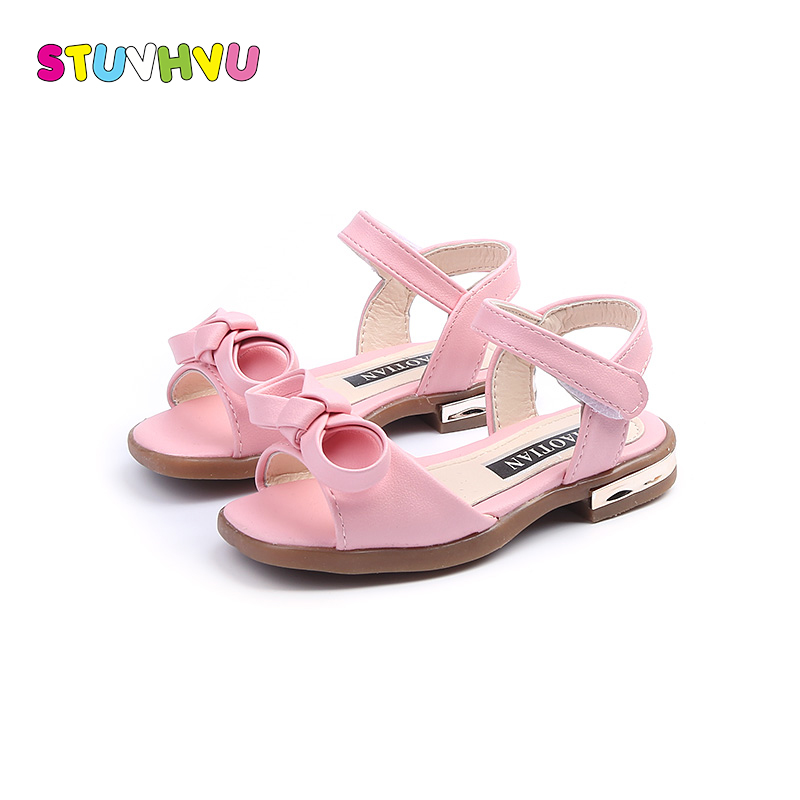 New arrival girls sandals fashion summer children leather shoes high quality cute girls bowtie shoes casual kids sandals soft