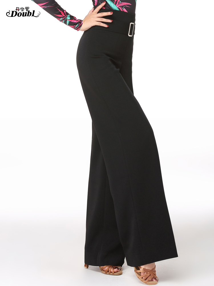 Woman's Adult Latin Dance Pants Long High Waist Broad Leg Trousers Ballroom Performance Dance Practice Clothes Flared Pants H658 6