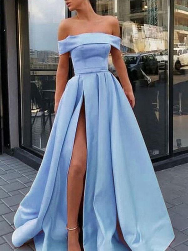Off Shouder Lumière Bleu Robe Élégante robes de soirée 2019 Haute Fente