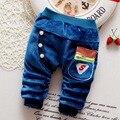 Otoño Invierno Caliente Infantil Chicos Casual Botón Encuadre de cuerpo Entero Espesar Pantalones Infantiles Del Bebé de Terciopelo Pantalones Largos S2283