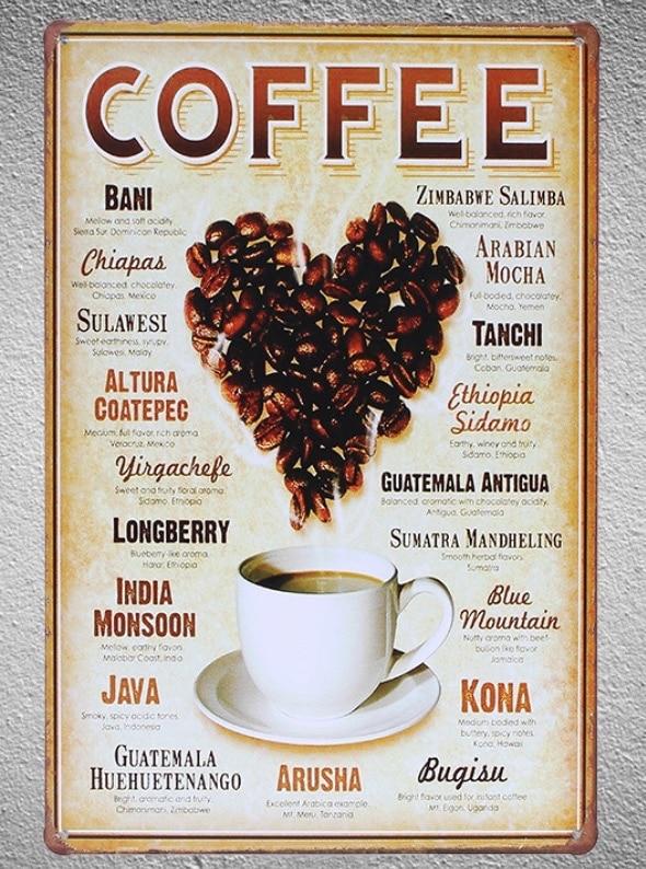 1 pc Coffee Love Mocha Java Cappuccino Americano Espresso Doppio Tin Plate Sign wall plaques Man cave vintage Shop store metal