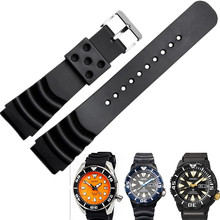 AOTU 18/20/22mm Fit For Seiko SKA293J2|SKA291J1 Durable Waterproof Rubber Strap Band Black + Pin Clasp Man Sport Watch +Tools