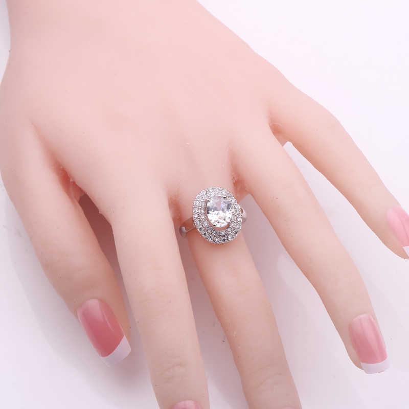 รูปไข่ขนาดใหญ่สีแดงหินคู่แถวคริสตัล Zircon Vintage แหวนผู้ชาย/ผู้หญิง Silver Gold แหวนเครื่องประดับสีดำ