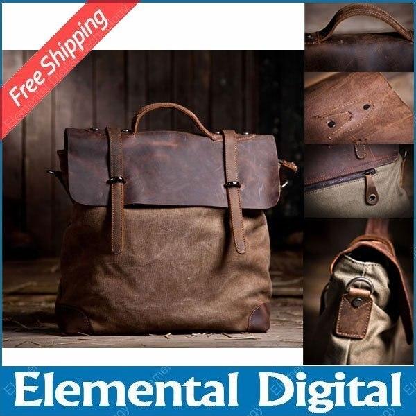 Free shipping fashion Vintage commercial cowhide handbag canvas + crazy horse leather  shoulder bag fashion canvas casual bag